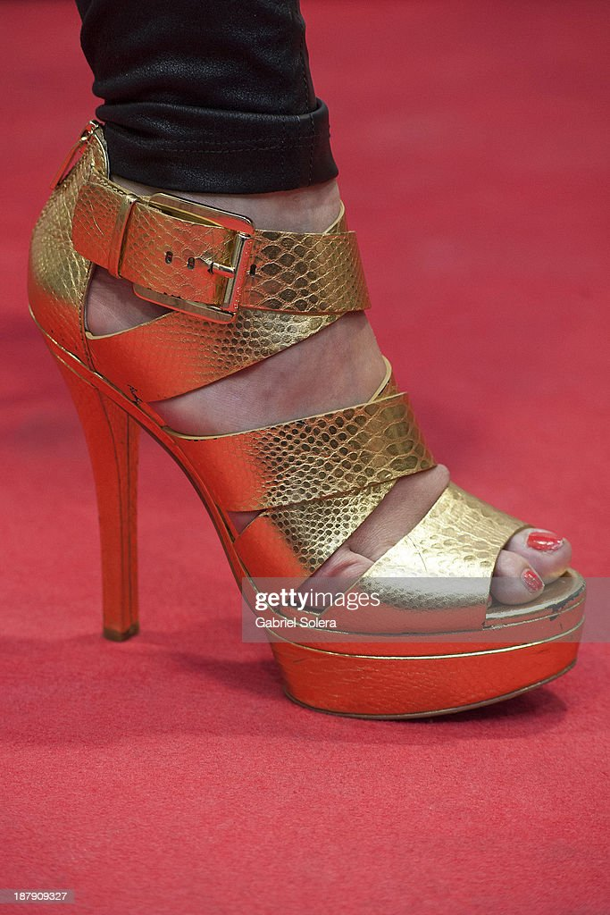 Soraya Arnelas (shoe detail) presents Lipomorosil at El Corte Ingles Store on November 13, 2013 in Madrid, Spain.