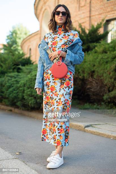 Soraya Bakhtiar poses after the Alberta Ferretti show during Milan Fashion Week Spring/Summer 2018 on September 20 2017 in Milan Italy