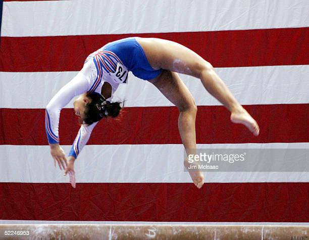 Soraya Chaouch of France performs on the balance beam during the 2005 American Cup gymnastics competition on February 26 2005 at Nassau Coliseum in...