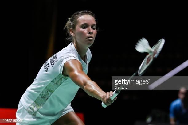 Soraya De Visch Eijbergen of Netherlands competes in the Women's Singles first round match against Sabrina Jaquet of Switzerland during day two of...