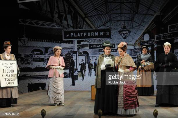 Soraya Mafi as Nannetta Victoria Simmonds as Meg Page Mary Dunleavy as Alice Ford and Yvonne Howard as Mistress Quickly with artists of the company...