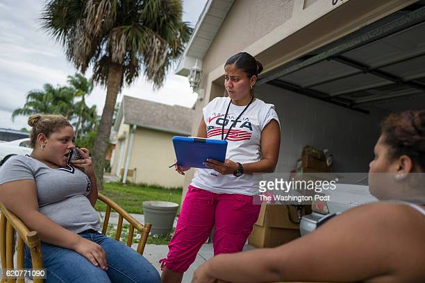 Soraya Marquez the state coordinator for Mi Familia Vota and her crew hit a Puerto Rican neighborhood trying to get Latinos to register to vote in...