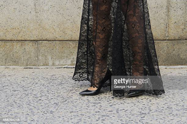 Soraya Pena is seen on the streets of Manhattan outside of the Jeremy Scott Spring 2016 fashion show at Skylight at Moynihan Station wearing black...