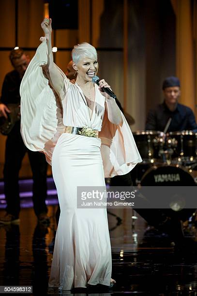 Soraya performs during 'Jose Maria Forque Awards 2015' gala at the Palacio Municipal de Congresos on January 11, 2016 in Madrid, Spain.