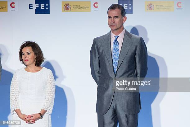 Soraya Saenz de Santamaria and King Felipe VI of Spain attend XXXIII 'Rey De Espana' and XII 'Don Quijote' journalism awards on July 13 2016 in...