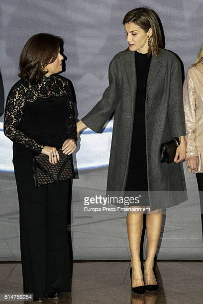 Soraya Saenz de Santamaria and Queen Letizia of Spain attend tribute concert 'In Memoriam' for terrorism victims on March 10 2016 in Madrid Spain