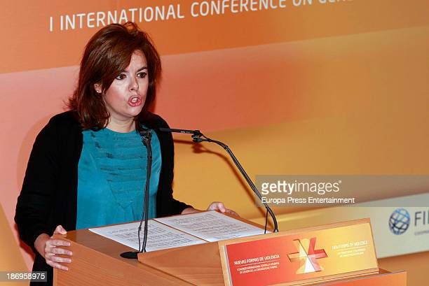 Soraya Saenz de Santamaria attends International Congress Against Gender Violence 'New Forms of Violence' inauguration at Auditorio Fundacion Canal...