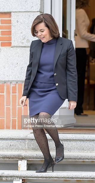 Soraya Saenz de Santamaria attends the meeting of National Commission for 4th centenary of Miguel de Cervantes's death at Zarzuela Palace on April 14...