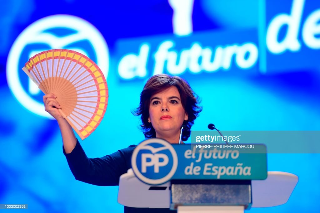 Soraya Saenz de Santamaria, one of two candidates hoping to lead Spain's Popular Party (PP), delivers a speech during a meeting to elect the conservative party's next leader in Madrid on July 21, 2018. - After an acrimonious campaign that saw mystery videos released attacking both candidates in turn, 3,082 delegates will be casting their ballot with a choice between Saenz de Santamaria, 47, who for six-and-a-half years was deputy prime minister, and Pablo Casado, a lawmaker who has promised 'hope' with a generational revamp of the party and a step further to the political right.