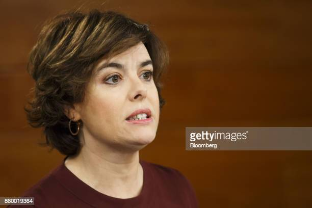 Soraya Saenz de Santamaria Spain's deputy prime minister speaks during a news conference in Madrid Spain on Tuesday Oct 10 2017 Today Mr Puigdemont...