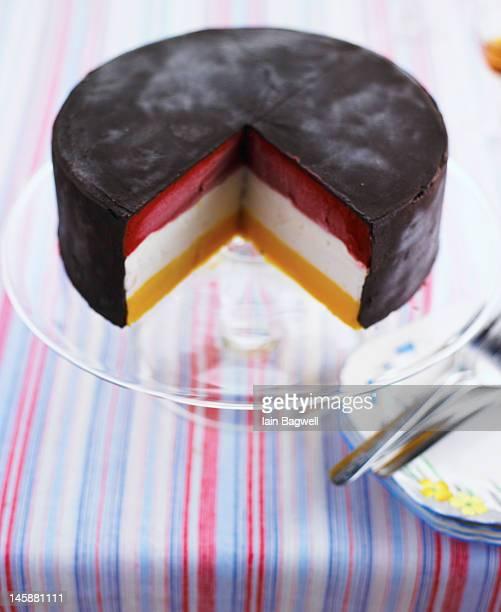 Sorbetto Cake with Raspberry, Coconut & Mango