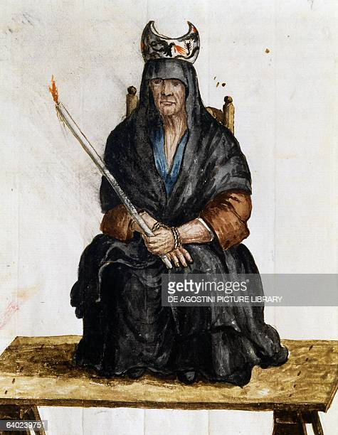 Sorceress illustration from The costumes of Venetians of almost every age diligently collected and painted in 18th century Giovanni di Grevembroch...