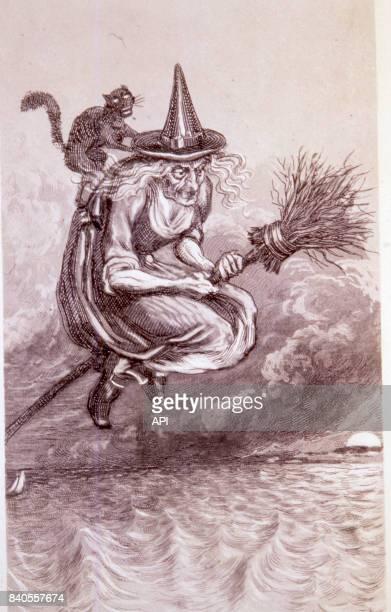 Sorcière s'envolant pour le Sabbat sur son balai au XVème siècle Ecosse
