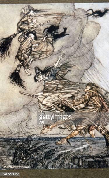 Sorcières volant sur leurs balais illustration du livre Ingoldsby Legends d'Arthur Rackham publié en 1905