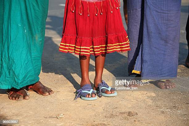 Sore feet of three indian hindu pilgrims in Kumily on January 02 2010 in Kumily near Trivandrum Kerala South India