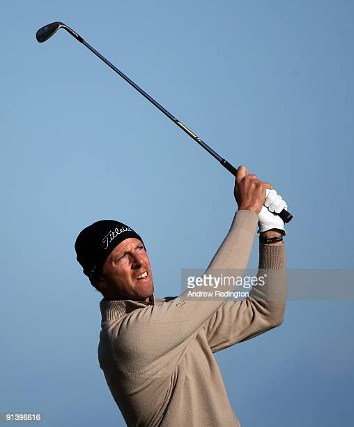 Soren Hansen of Denmark plays his second shot to the fifth hole during the third round of The Alfred Dunhill Links Championship at Kingsbarns Golf...