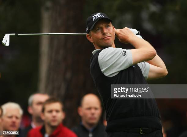 Soren Hansen of Denmark plays his tee shot on the 8th during the Second Round of the HSBC World Matchplay Championship at The Wentworth Club on...