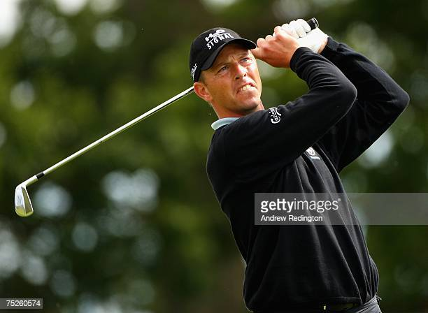 Soren Hansen of Denmark tees off on the 17th hole during the third round of the Smurfit Kappa European Open on July 7 2007 on the Smurfit Course at...