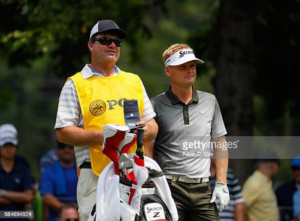 Soren Kjeldsen of Denmark and caddie Alistair Matheson wait on the fourth tee during the third round of the 2016 PGA Championship at Baltusrol Golf...