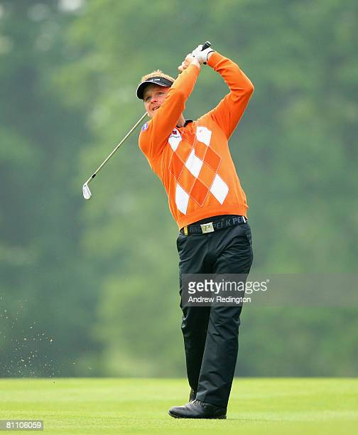 Soren Kjeldsen of Denmark hits his second shot on the 13th hole during the second round of the Irish Open on May 16 2008 at the Adare Manor Hotel and...