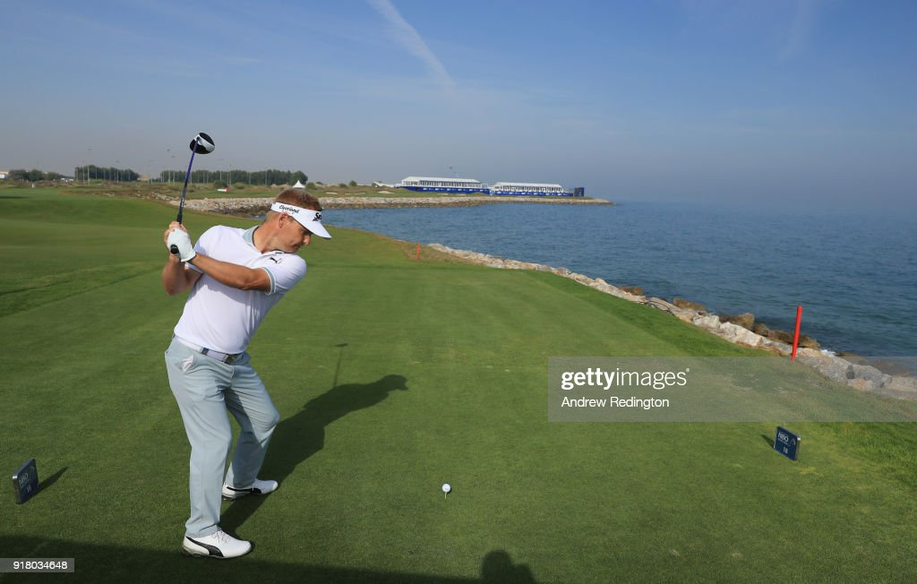 Soren Kjeldsen of Denmark hits his tee-shot on the 18th hole during the Pro Am prior to the start of the NBO Oman Open at Al Mouj Golf on February 14, 2018 in Muscat, Oman.
