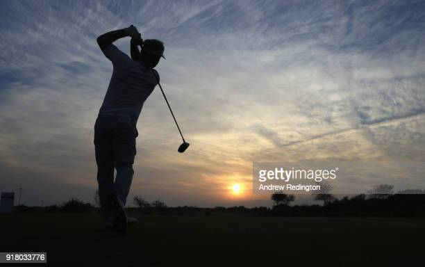 Soren Kjeldsen of Denmark in action during the Pro Am prior to the start of the NBO Oman Open at Al Mouj Golf on February 14 2018 in Muscat Oman