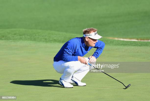 Soren Kjeldsen of Denmark lines up a putt on the second hole during the first round of the 2017 Masters Tournament at Augusta National Golf Club on...