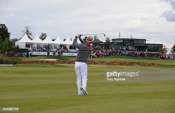 Soren Kjeldsen of Denmark plays his second shot on to the 18th green during day four of DD REAL Czech Masters at Albatross Golf Resort on August 24...