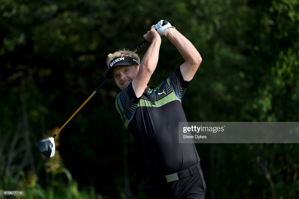 Soren Kjeldsen of Denmark plays his shot from the ninth tee during the first round of the Valero Texas Open at TPC San Antonio AT&T Oaks Course on April 20, 2017 in San Antonio, Texas.