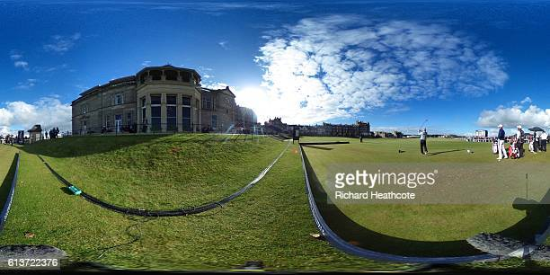Soren Kjeldsen of Denmark plays off the 1st tee during the Alfred Dunhill Links Championship at The Old Course on October 9 2016 in St Andrews...