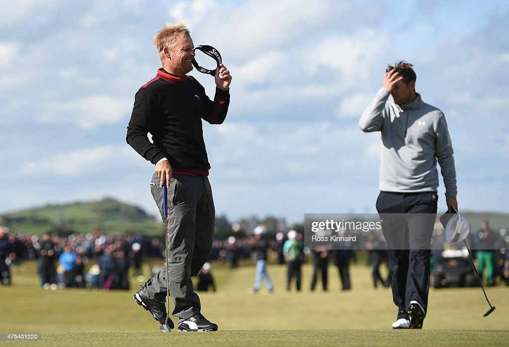 Soren Kjeldsen of Denmark reacts to his victory in a playoff on the 18th green during the Final Round of the Dubai Duty Free Irish Open Hosted by the Rory Foundation at Royal County Down Golf Club on May 31, 2015 in Newcastle, Northern Ireland.