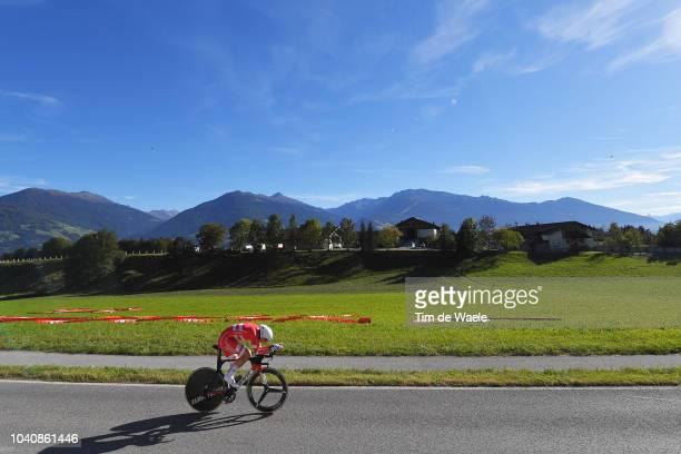 Soren Kragh Andersen of Denmark / Landscape / Mountains / during the Men Elite Individual Time Trial a 525km race from Rattenberg to Innsbruck 582m...