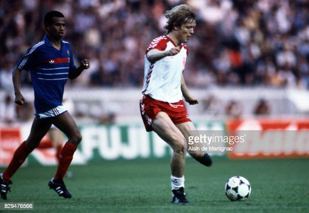 Soren Lerby of Denmark during the European Championship match between France and Denmark at Parc des Princes Paris France on 12th June 1984