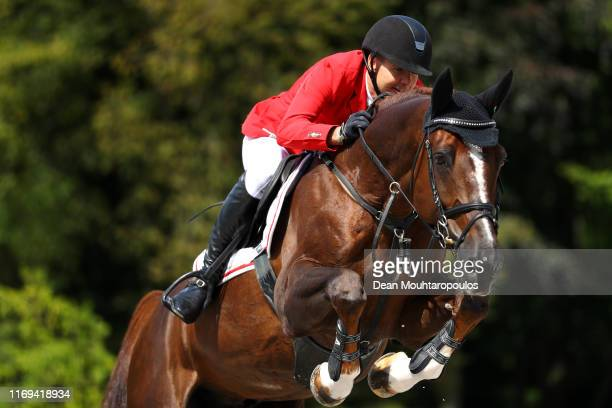 Soren Moeller Rohde of Denmark riding Todt Un Prince Ask competes during Day 3 of the Longines FEI Jumping European Championship speed competition...