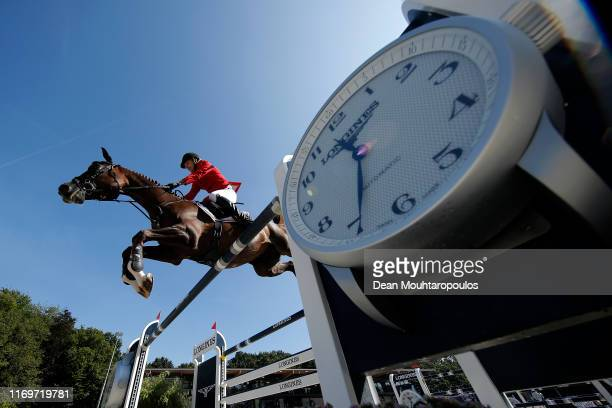 Soren Moeller Rohde of Denmark riding Todt Un Prince Ask competes during Day 4 of the Longines FEI Jumping European Championship 2nd part, team...