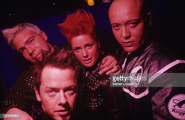 Soren Raasted Nystrom Claus Norreen Lene Crawford Nystrom and Rene Dif of pop group Aqua in 2000