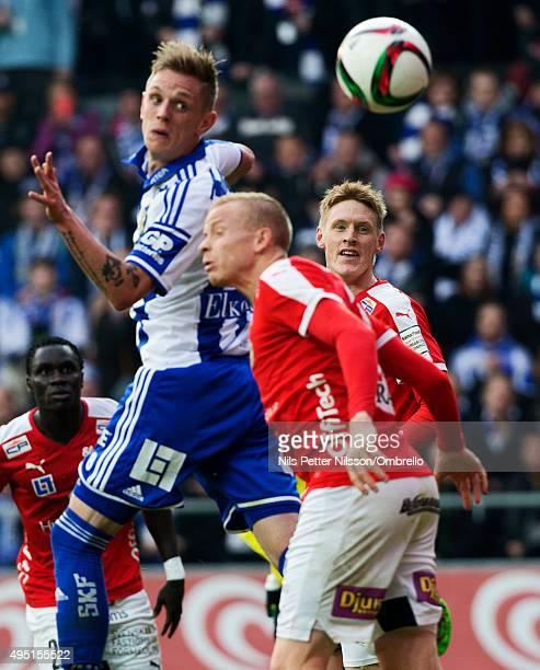 Soren Rieks and Rasmus Elm during the match between IFK Goteborg and Kalmar FF at Gamla Ullevi on October 31 2015 in Gothenburg Sweden