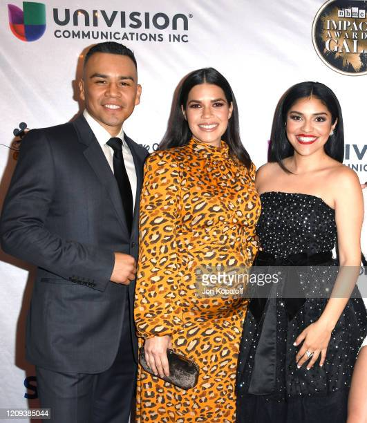 JJ Soria America Ferrera and Karrie Martin attend The National Hispanic Media Coalition's 2020 Impact Awards at the Beverly Wilshire Four Seasons...
