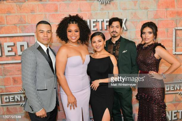 J Soria Julissa Calderon Annie Gonzalez Carlos Santos and Karrie Martin attends the premiere of Netflix's Gentefied at Plaza de la Raza on February...