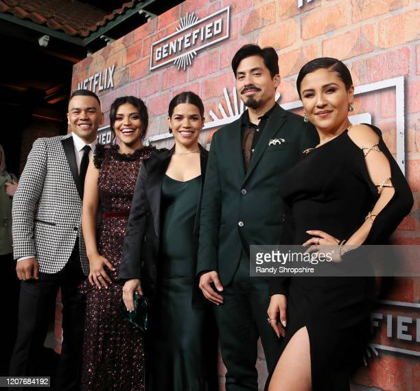 JJ Soria Karrie Martin America Ferrera Carlos Santos and Annie Gonzalez attend the premiere of Netflix's GENTIFIED Season 1 at Margo Albert Theatre...