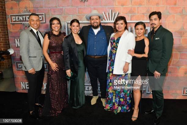 J Soria Karrie Martin America Ferrera Marvin Lemus Linda Yvette Chavez Annie Gonzalez and Carlos Santos attends the premiere of Netflix's Gentefied...