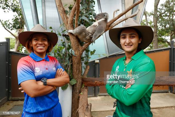 Sornnarin Tippoch of Thailand and Bismah Maroof of Pakistan pose with a Koala during the ICC 2020 Women's Twenty20 World Cup Captains media call at...