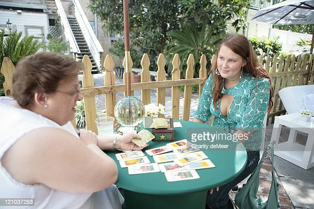 Sorority girl gets her fortune told during Lacoste on Campus - University of Florida at University of Florida in Gainesville, Florida, United States.