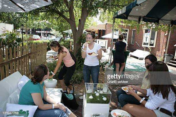 Sorority girls enjoy a snack at the party during Lacoste on Campus - University of Florida at University of Florida in Gainesville, Florida, United...