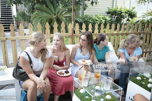Sorority girls enjoy a snack during Lacoste on Campus - University of Florida at University of Florida in Gainesville, Florida, United States.