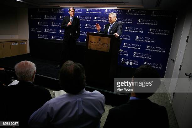 Soros Fund Management Chairman George Soros speaks as American Strategy Program Director Steve Clemons looks on during a discussion at the New...