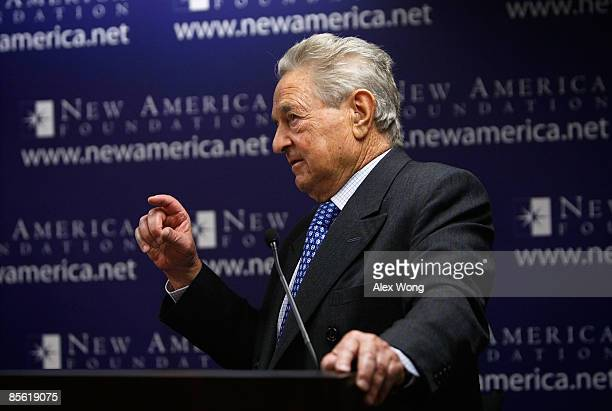 Soros Fund Management Chairman George Soros speaks during a discussion at the New America Foundation March 26, 2009 in Washington, DC. Soros...