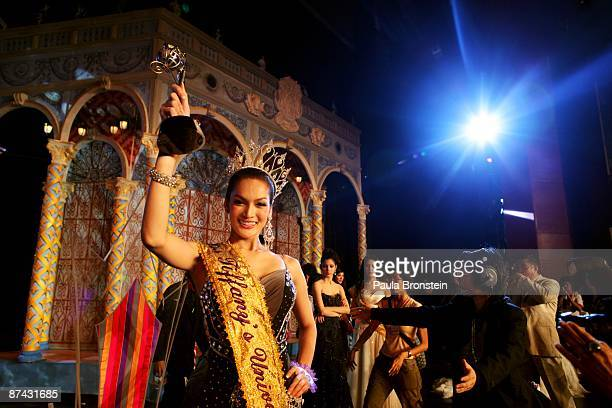 Sorrawee Nattee celebrates after winning the Miss Tiffany Universe contest on May 16 2009 in Pattaya Thailand The Miss Tiffany Universe contest has...