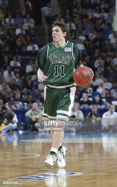 J Sorrentine of the Vermont Catamounts brings the ball upcourt during the first round game of the 2004 NCAA Basketball Tournament against the...