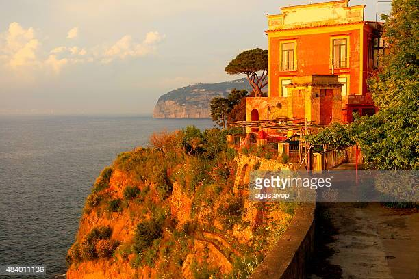 sorrento panorama and abandoned villa, bay of naples, italy - sorrento italy stock pictures, royalty-free photos & images